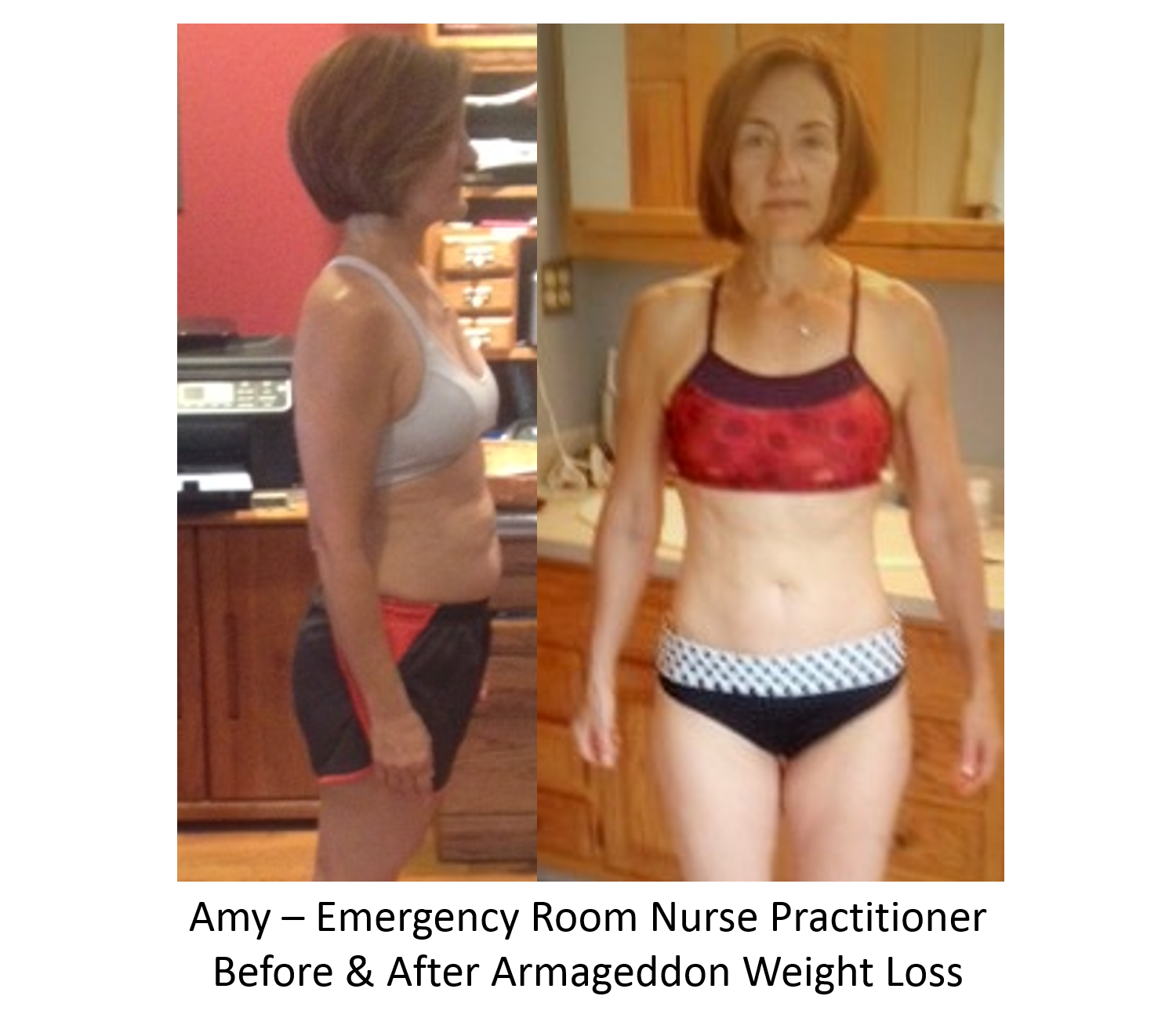 Amy - Nurse Practitioner - Before and After Armageddon Weight Loss - Best weight loss DVD for women - best exercise DVD - best cellulite removal - best muffin top removal - 12