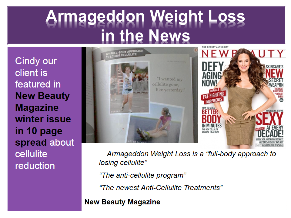 Armageddon Weight Loss in the News - Best Weight Loss DVD Program for women and men - New Beauty Magazine, Bruce Wayne, Madeline Stowe