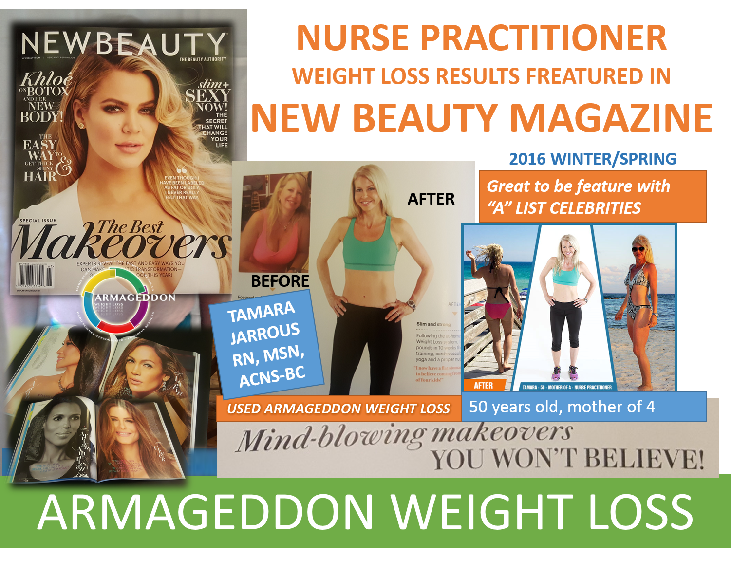 TAMARA JARROUS - RN MSN, NEW BEAUTY MAGAZINE - ARMAGEDDON WEIGHT LOSS - BEST WEIGHT LOSS DVD FOR WOMEN