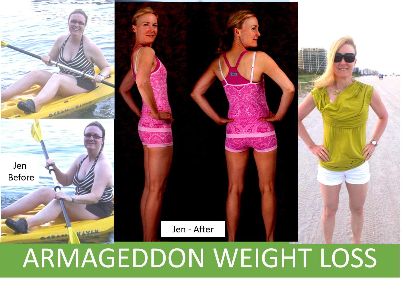 With Armageddon Weight Loss Jen learned how to lose weight fast and how to get rid of cellulite fast based on hard science. She focused less on fast weight loss plans and instead focused on how to achieve sustainable results. To get serious long-term results avoid workout DVDs that are not holistic and personalized to you.