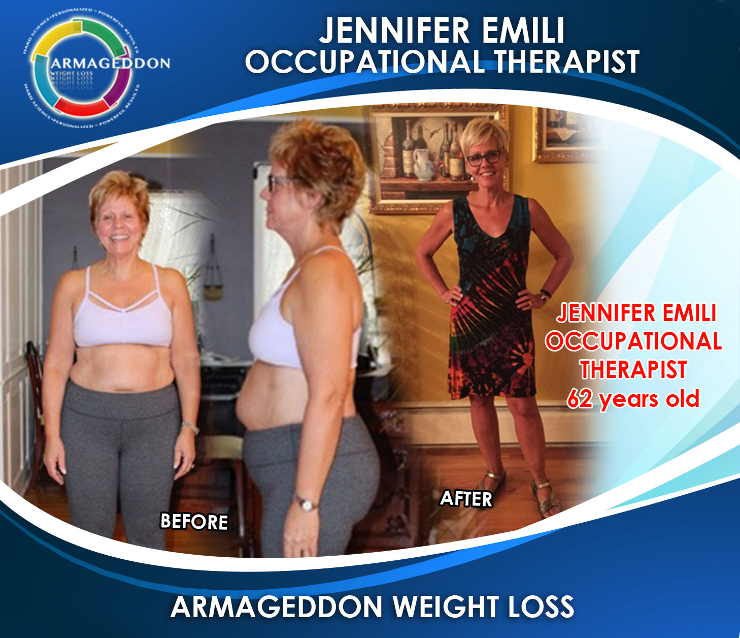 Jennifer Emili - Occupational Therapist - Armageddon Weight Loss - Best weight loss DVD for women over 60, best exercise program for women over 60